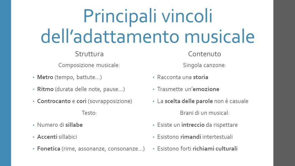 Principali vincoli dell'adattamento musicale