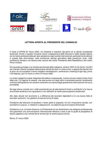 Lettera Aperta al Presidente del Consiglio_27 03 2020